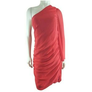 Laundry Red One Shoulder Ruched Evening Dress